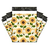 10x13 (100) Sunflowers and Bumble Bees Designer Poly Mailers Shipping Envelopes Premium Printed Bags