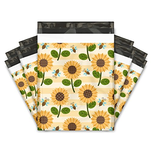 Bee Dark T-shirt - 10x13 (100) Sunflowers and Bumble Bees Designer Poly Mailers Shipping Envelopes Premium Printed Bags