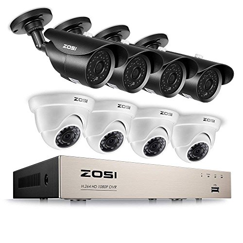 ZOSI Full HD 1080P Security Camera System 8CH Surveillance Recorder DVR (8) 2.0MP Bullet & Dome Surveillance Cameras, Outdoor Indoor Using, Quality Night Vision, Smartphone & PC Remote Viewing