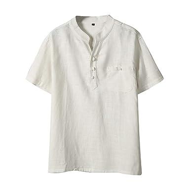 bas prix f6cc1 21bfb Haut Homme T-Shirt À Manches Courtes Hommes Shirt Homme Col V Chemises en  Lin Et Coton Été Pullover Mode Casual Grande Taille Unicolore Tops Tee ...