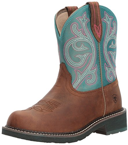Ariat Women's Fatbaby Heritage Western Boot, Distressed Brown/Shimmer Turquoise, 11 B US