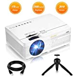 Mini Projector, 2500 Lumens HD LCD Home Theater Projector Portable Compatible with HDMI, AV, VGA, SD Card, USB Port, Computer, USB Flash Drive, Smartphone, Tablet, DVD, etc