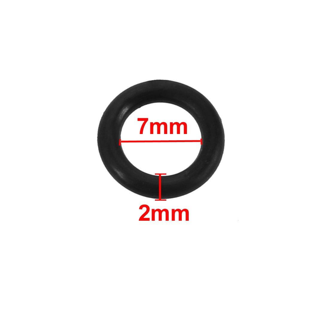 sourcing map 50pz nero gomma nitrilica NBR guarnizione anello 7mm diametro interno 2mm larghezza
