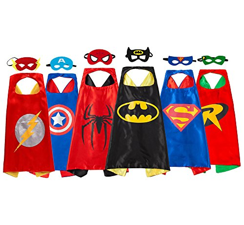 Super Hero Dress Up Costumes 6 Satin Capes and 6 Felt Masks for Children Party Red ()