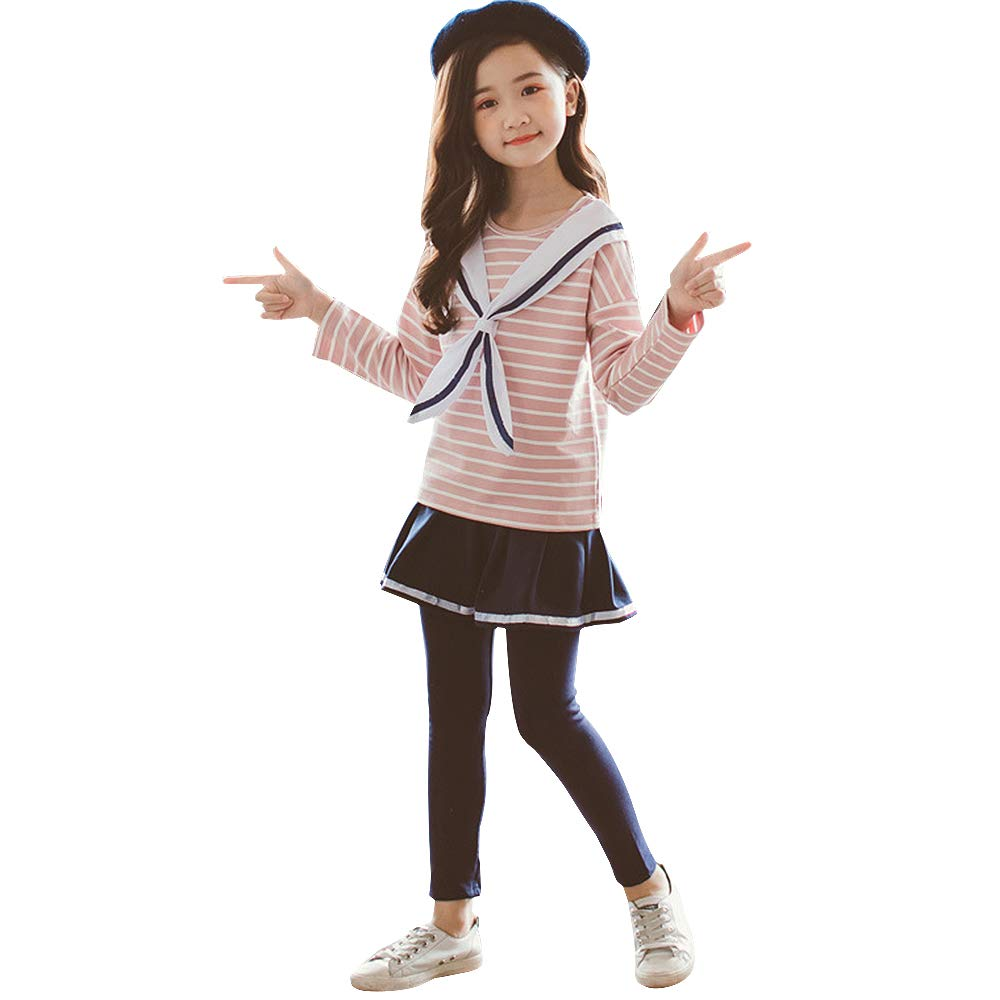 Little Girls 2 Pieces Clothing Set Outfit Sailor Collar Top+Black Leggings Pantsskirts