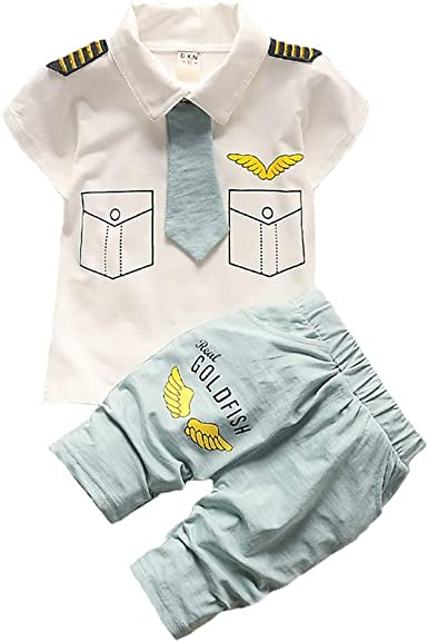 Kids Baby Boys Clothing Set Summer Infant Toddler Pilot Clothes Captain Costume Military Uniforms