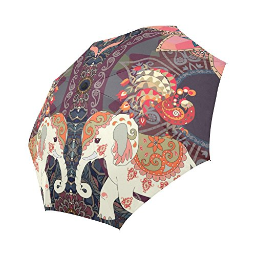 (InterestPrint Indian Style Elephants Peacocks Windproof Automatic Open and Close Folding Umbrella, Lovely Animal Sun Mandala Unbreakable Portable Outdoor Travel Compact Umbrella with UV Protection)