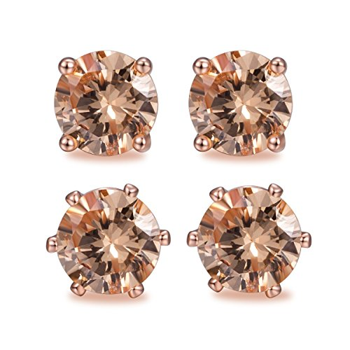 OPALBEST Women Rose Gold Plated Champagne Crystal Cubic Zirconia Simulated Morganite Eternity Stud Earring