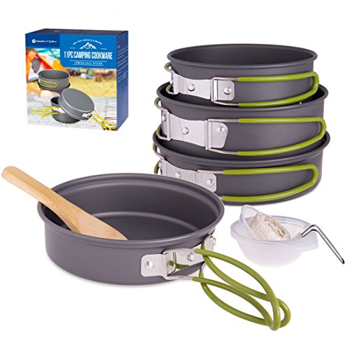 RoryTory Camping Cookware Collapsible Cooking Pots & Pan Survival Kit - Complete Backpacking Gear Set with Frying Pan, Small Pot, Large Pot, Serving Cups & Stirring Spoon - Hiking & Outdoors Full Kit by RoryTory