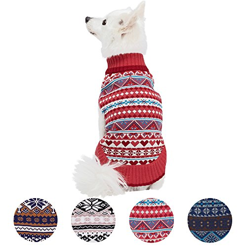 Blueberry Pet 4 Patterns Holiday Charm Fair Isle Style Sugar Coral Pullover Dog Sweater, Back Length 12
