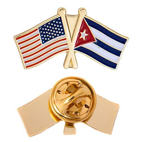 Cuba Country Double Flag Lapel Pin Enamel with United States USA US Souvenir Hat Men Women Patriotic (Double Flag Pin)