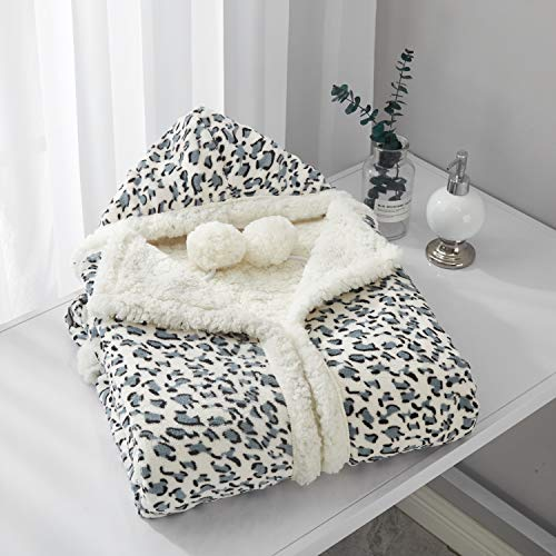 """Animal Print Velour Blanket - Chic Home Leopard Snuggle Hoodie Leopard Spot Animal Print Robe Cozy Super Soft Ultra Plush Micromink Sherpa Lined Wearable Blanket with 2 Pockets Hood Button Closure, 51"""" x 71"""" Gray"""