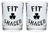 Funny St Patricks Day Shot Glasses Fit Shaced Expletive Shamrock St Patricks Shot Glass Set Home Bar Accessories Drinking St Pattys Gift Shot Glasses 2-Pack Round Shot Glass Set Black