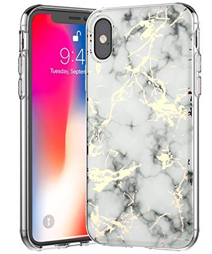 (iPhone Xs Case 2018,Spevert Marble Pattern Hybrid Hard Back Soft TPU Raised Edge Slim Protective Case Cover Compatible iPhone Xs 2018 5.8 inches - White)