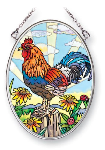 Amia Suncatcher Featuring a Rooster Design, Hand Painted Glass, 4-1/4-Inch by 3-1/4-Inch Oval (5394)