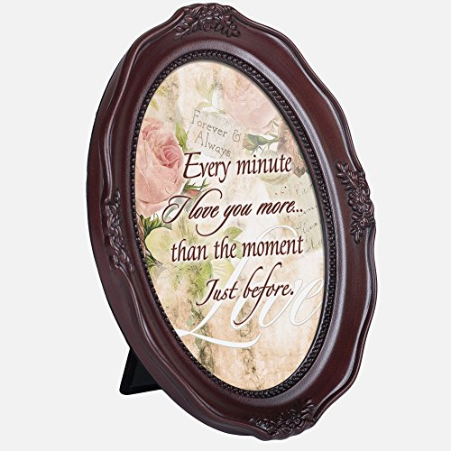Every Minute I Love You More 6 x 8 Woodgrain Finish Oval Shaped Picture - Shaped Frames Oval