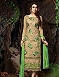 Cream Chanderi Silk Partywear and Casual Straight Salwar Suit