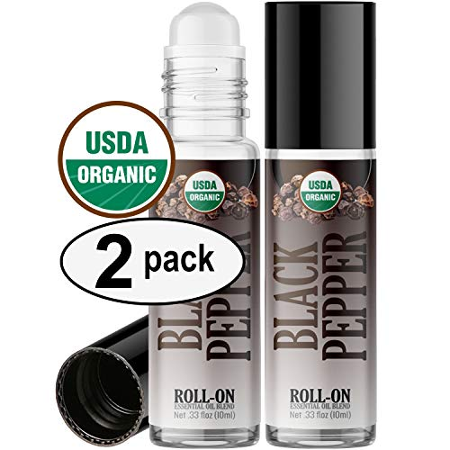 Organic Black Pepper Roll On Essential Oil Rollerball (2 Pack - USDA Certified Organic) Pre-diluted with Glass Roller Ball for Aromatherapy, Kids, Children, Adults Topical Skin Application - 10ml ()
