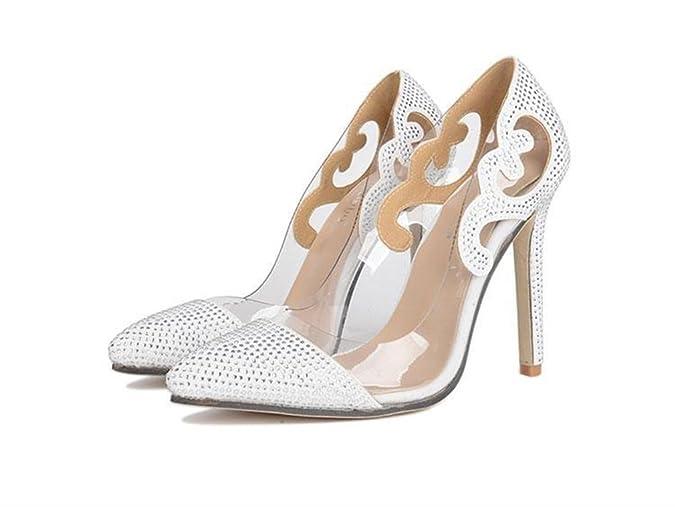 Xianshu Transparente Glas Kleber Spitze Diamant Schuhe spitze High Heel Schuhe(Weiß-38) 9fL95pXJ