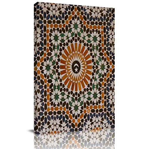 SUN-Shine Canvas Wall Art Painting, Morocco Arab Mosaic Pattern Abstract Oil Prints Poster for Home Decorations, Framed Art Ready to Hang]()