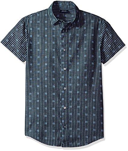 ARMANI JEANS Men's Slim Fit Chambray Short Sleeve Shirt, Blue XX-Large