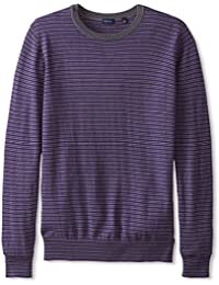 Men's Silk/Cotton Multi Stripe Crew Neck