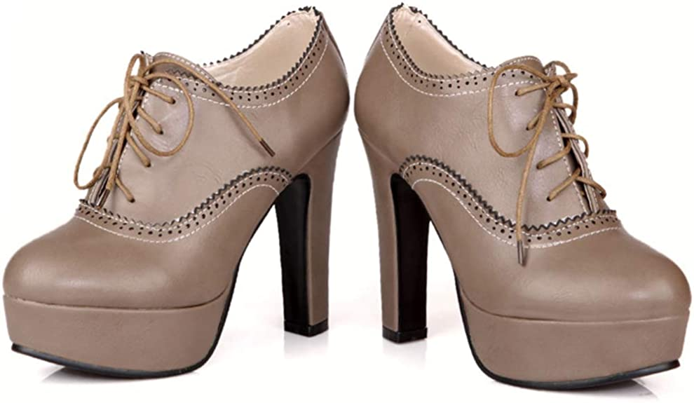 ELEEMEE Femmes Elegant Lacets Escarpins Bas Plateforme