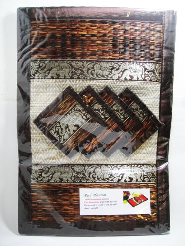 Thai Handmade Reed Placemat+coaster with Thai Elephant Stencil 4 Sets/pack by Desire Variety Shop