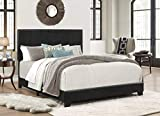 Crown Mark Erin Upholstered Panel Bed in Black, Queen