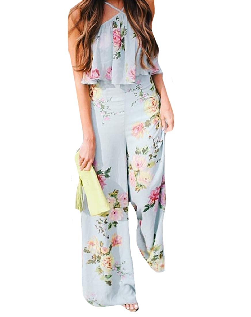 Unastar Womens Lounge Boho Style Cut Out Shoulder Jumpsuits Rompers