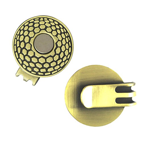 (PINMEI Magnetic Golf Hat Clips Work with Golf Markers 2 Pcs (Antique Brass))