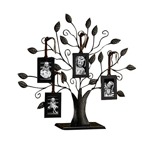Table Top Photo Frame, DEFAITH Black Iron Family Tree Photo Frame with 4 Hanging Picture Frames