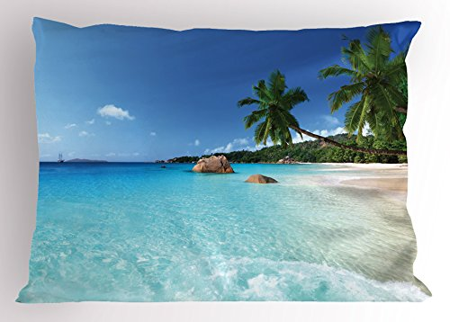 Ambesonne Ocean Pillow Sham, ANSE Lazio Beach at Praslin Island Surfing Beach Scenic View Travel, Decorative Standard Size Printed Pillowcase, 26 X 20 Inches, Turquoise Blue ()