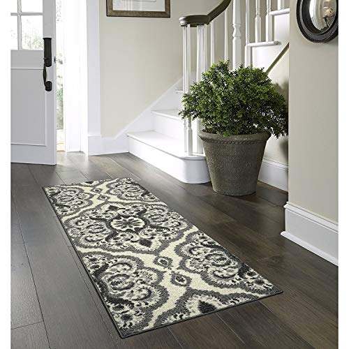 Maples Rugs Runner Rug - Vivian 2 x 6 Non Skid Hallway Carpet Entry Rugs Runners [Made in USA] for Kitchen and Entryway, 2' x 6', Grey