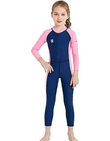 3a8204789e DIVE   SAIL Girls Long Sleeve Rash Guard UPF 50+ Full Swimsuit for Boys Kids