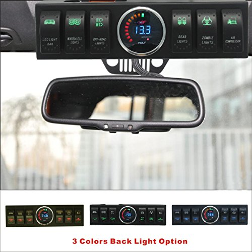 Apollointech Jeep Wrangler JK & JKU 2009-2017 Overhead 6-Switch Pod / Panel with Control and Source System Green Back Light ( Comes with 10 Laser Switch Covers )