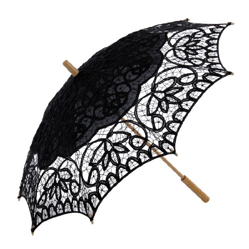 Topwedding Women's Cotton Lace Parasol with A Longer Wood Post Handle -