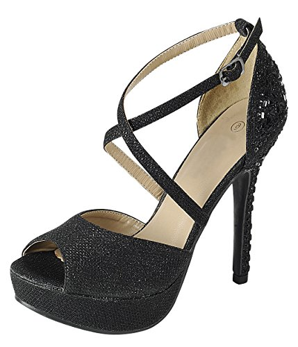Ankle Strap Peep Toe Heels - Cambridge Select Women's Peep Toe Crisscross Ankle Strappy Rhinestone Crystal Beaded Platform Stiletto Heel Dress Sandal (10 B(M) US, Black)