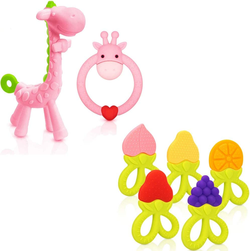 SHARE&CARE Silicone Giraffe Baby Teether Toy and 5 Fruits Baby Teething Toys Set with Storage Case, BPA Free