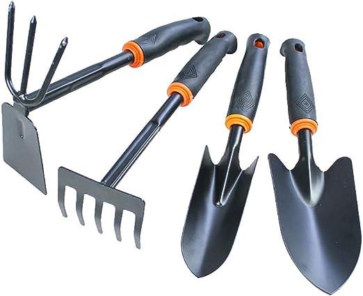 Juego de mini palas de rastrillo para jardín, herramientas de bonsái, mango de madera, pala de cabeza de metal para flores, plantas en maceta, 4 unidades: Amazon.es: Jardín