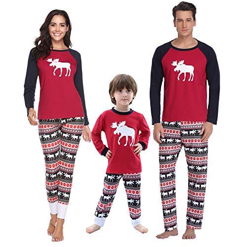 Nuit 2 Pantalons Vãªtements Rouge Ensemble Aibrou Noã«l Pyjamas Femmes Style Famille Enfants Hauts De Cerf Et Longs Hommes femme awx7vq71nO