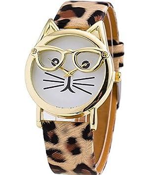 [2016 Nueva Versión] de moda gafas gato reloj correa de piel reloj relojes vestido de las mujeres reloj de pulsera reloj de cuarzo: Amazon.es: Hogar