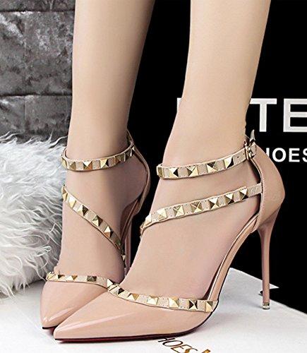 Minetom Partei Frühjahr Sommer Herbst Mode Damen Wies High Heels Niet Rotation Gürtelschnalle Stöckelschuhen Die Füße Schuhe Pumps Aprikose
