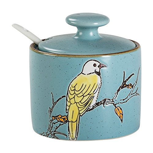 - CHOOLD Countryside Floral Bird Ceramic Spice Jar with Lid Spoon Seasoning Box Condiment Pots Spice Racks for Kitchen Housewarming Gift