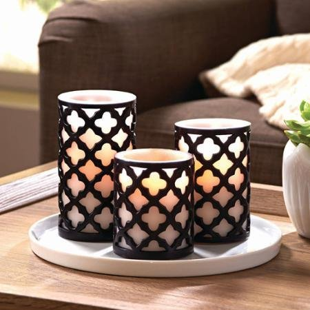 Unscented Trellis Flameless LED Pillar Candles