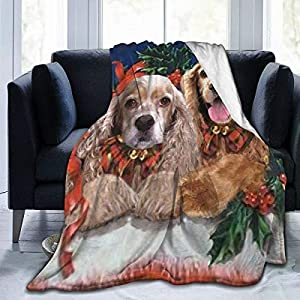 Yulimin Merry Christmas American Cocker Spaniel Dog Full Fleece Throw Cloak Wearable Blanket Nursery Bedroom Bedding Decor Decorations Queen King Size Flannel Fluffy Plush Soft Cozy Comforter Quilt 1