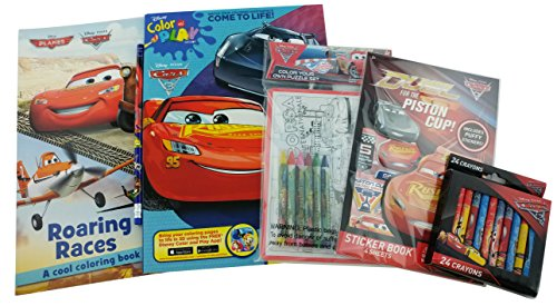 Disney Pixar Cars Bundle: 5 Items Cars 3 Color and Pay Come and Roaring Races Cars / Planes Coloring Books, Piston Cup Sticker Book, Cars 2 Color Your Own Puzzle, (Halloween Color By Number Printable Worksheets)