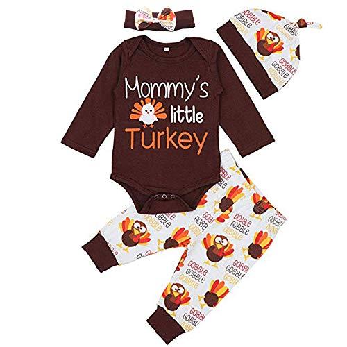 01d02e32dd Thanksgiving Baby Clothes Newborn Boy Girl Letter Print Romper Turkey Print  Pant Hat Headband 4pcs Outfit