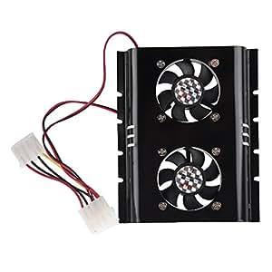 SODIAL(R) Refrigerador 2 Ventilador Negro 3.5 SATA IDE Unidad de Disco Duro HDD para PC Computadora Portatil