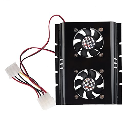 SODIAL(R) New Black 3.5 SATA IDE Hard Disk Drive HDD 2 Fan Cooler for PC by SODIAL (Image #3)